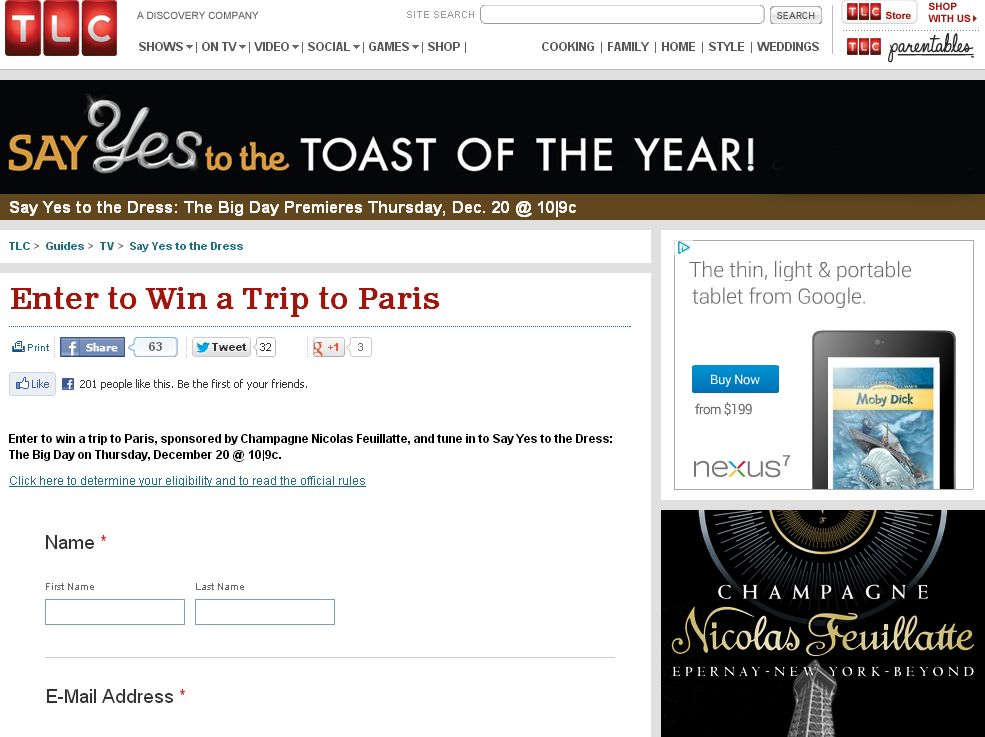 TLC's SAY YES TO THE DRESS Win a Trip to Paris Sweepstakes