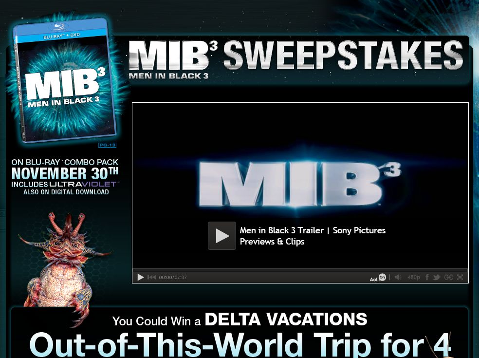 AOL's Men in Black 3 DVD Sweepstakes