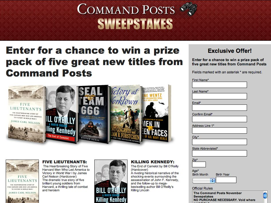 Command Posts Five Book Sweepstakes