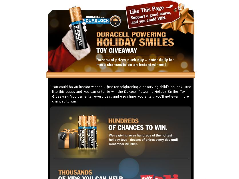 Duracell Powering Holiday Smiles Instant Win Game