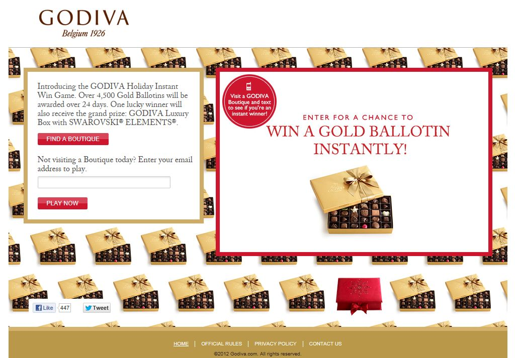 Godiva Holiday Instant Win Game & Sweepstakes