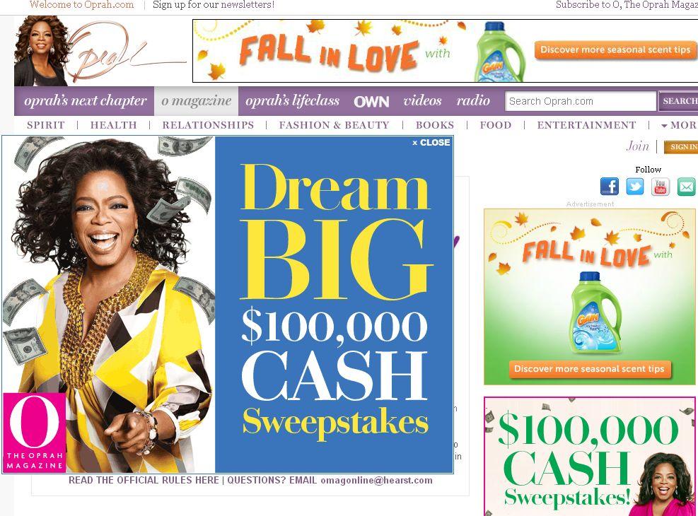 O Magazine's12 DAY GIVE-O-WAY SWEEPSTAKES