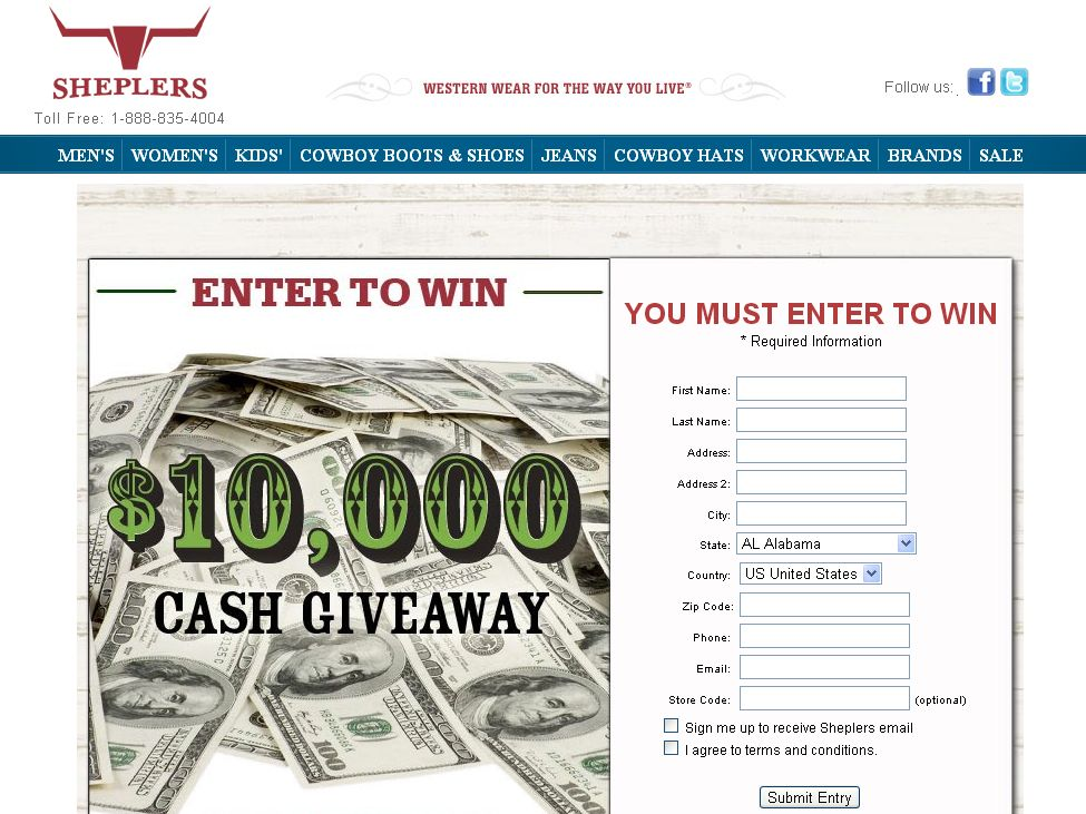 Sheplers $10,000 Boot Stuffer Cash Giveaway