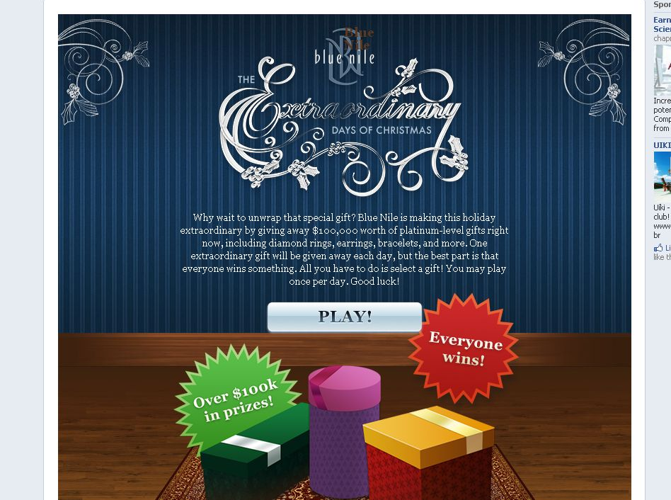 Blue Nile Extraordinary Days of Christmas Instant Win Game