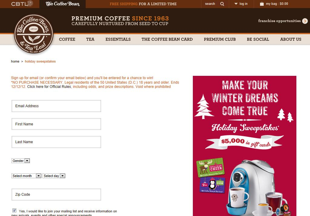 Coffee Bean Holiday Sweepstakes