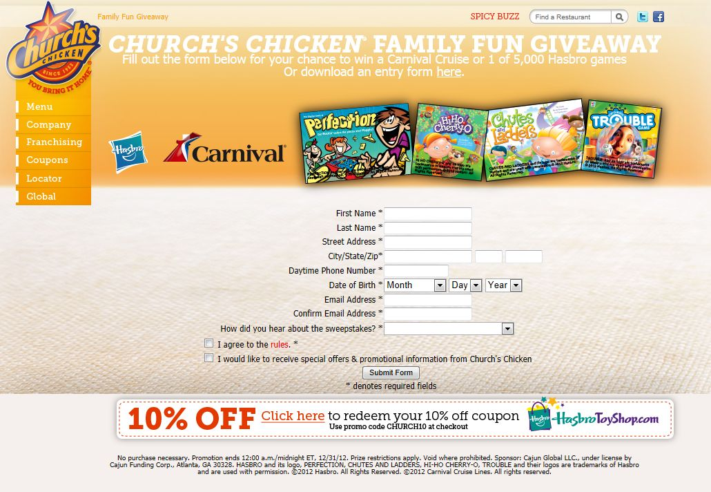 Church's Chicken Family Fun Giveaway