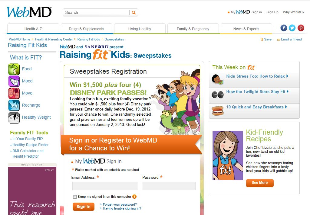 WebMD Raising Fit Kids Sweepstakes