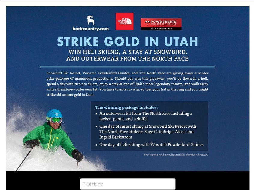 North Face Snowbird Flyaway contest