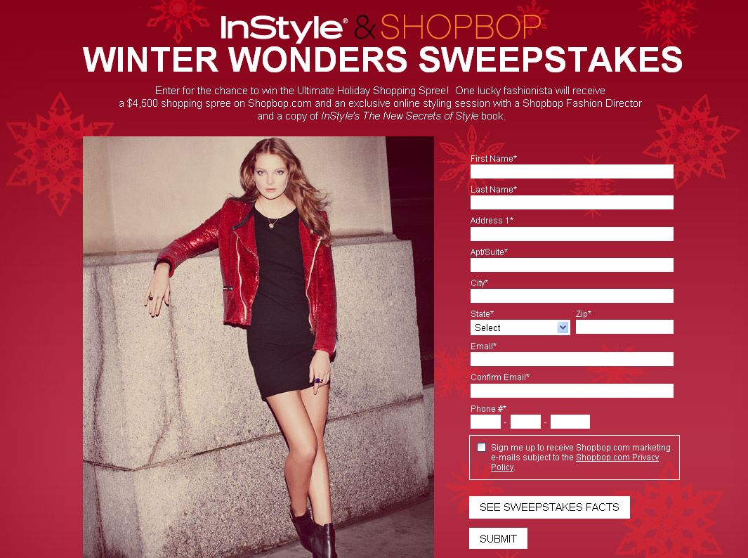 InStyle and Shopbop Winter Wonders Sweepstakes