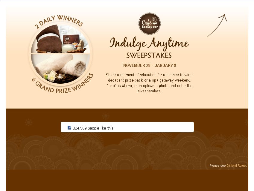 CafeEscapes Indulge Anytime Sweepstakes