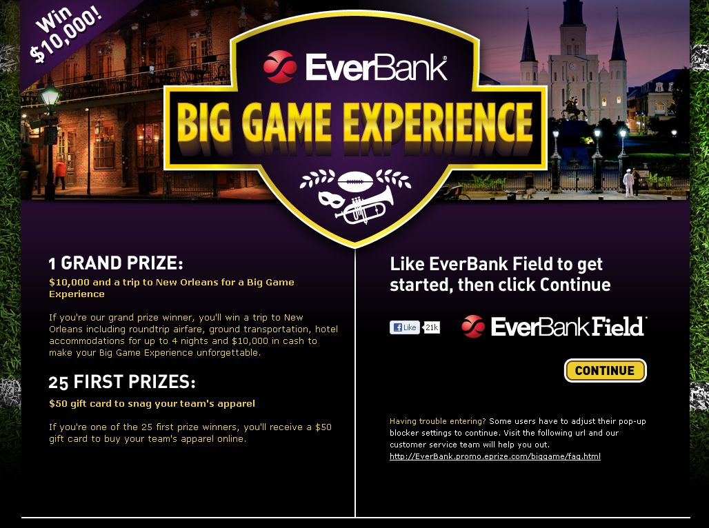 EverBank Big Game Experience Sweepstakes