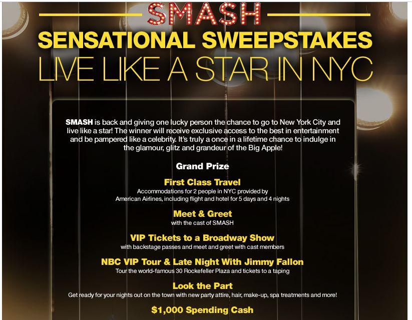 NBC's Smash Sensational Sweepstakes