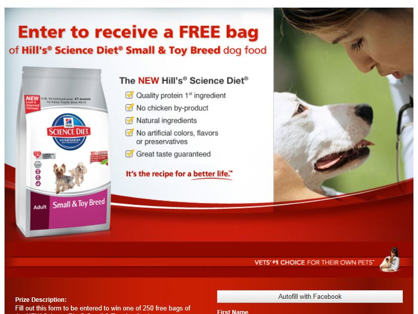 Hill's Pet Nutrition Facebook Sweepstakes