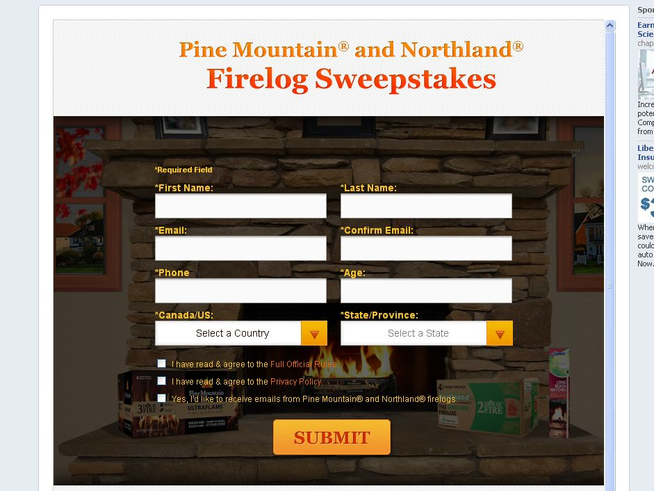 Pine Mountain and Northland Firelog Sweepstakes