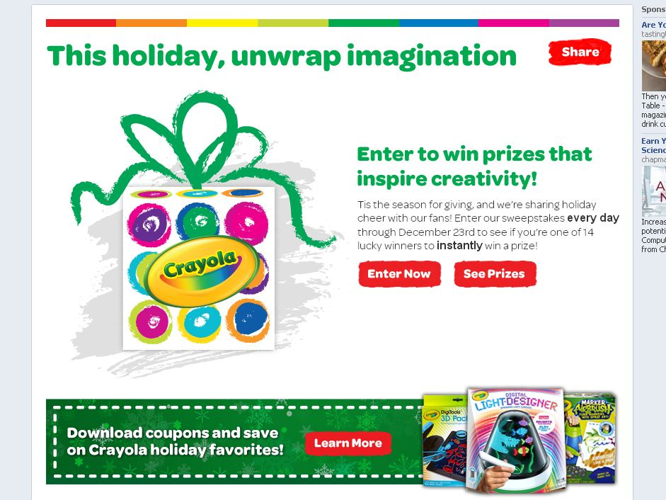 Crayola Unwrap Imagination Instant Win Sweepstakes
