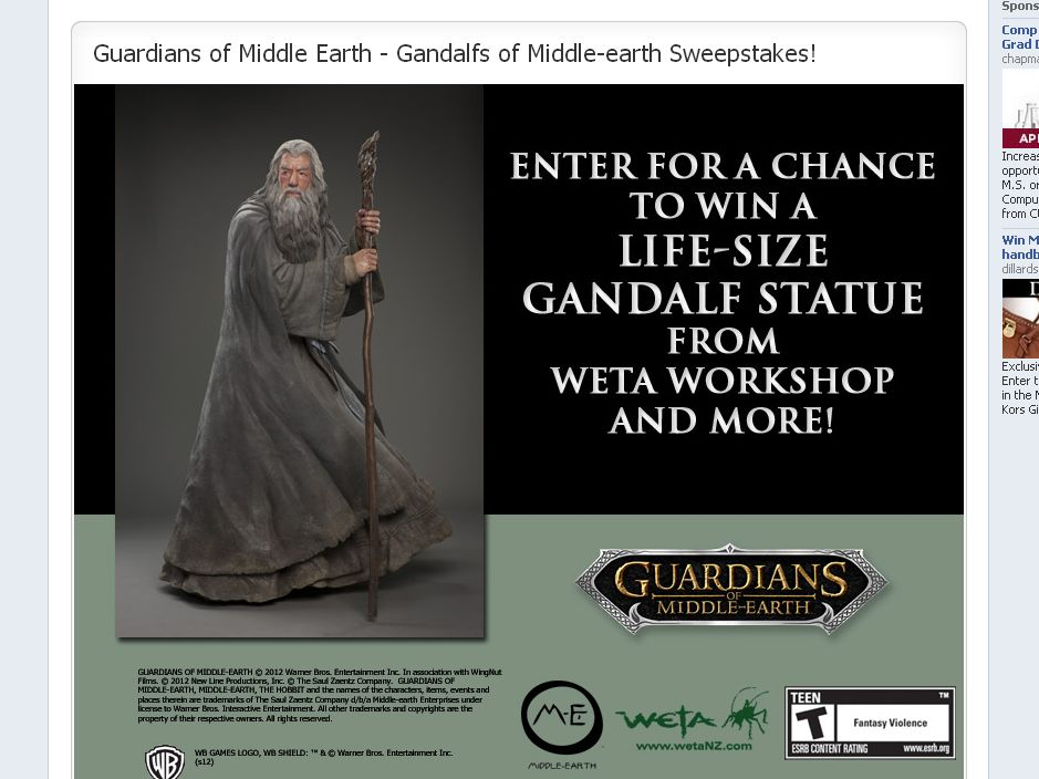 Warner Bros. Guardian of Middle-Earth Gandalf Statue Sweepstakes
