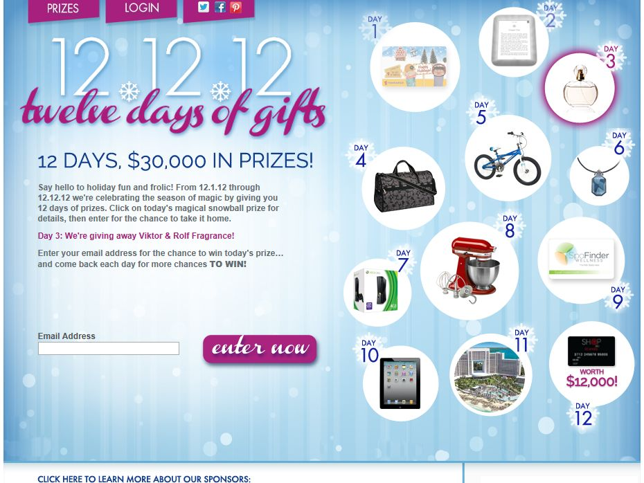 12.12.12 Twelve Days of Gifts Sweepstakes
