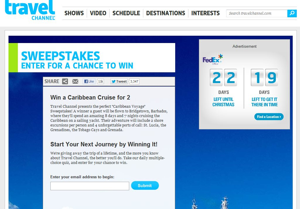Travel Channel December 2012 Sweepstakes