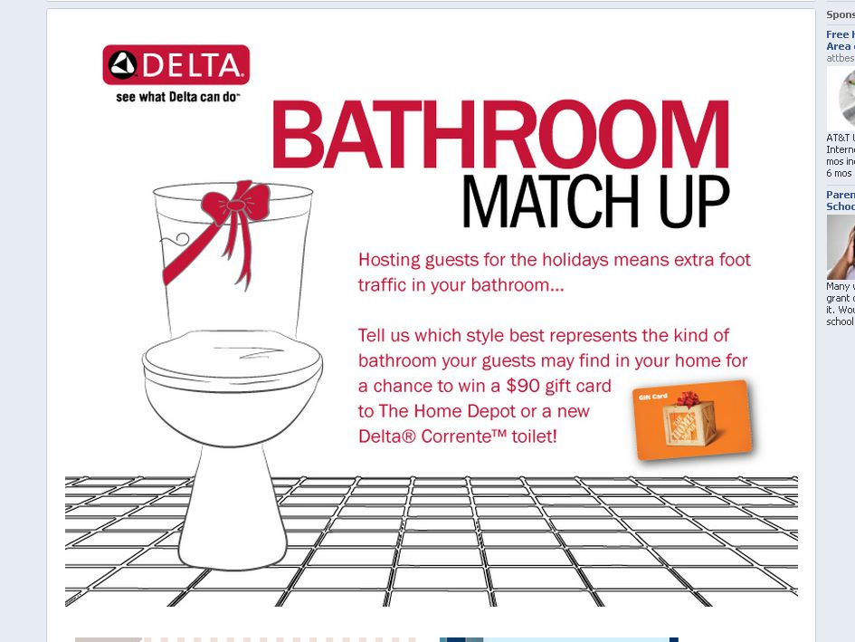 Delta Faucet Company Bathroom Match Up Sweepstakes