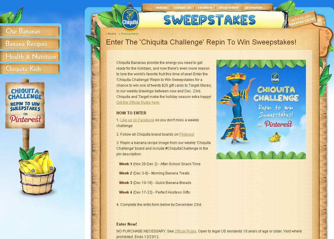 Chiquita Challenge Repin to Win Sweepstakes