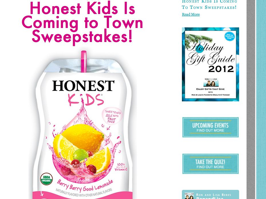 Honest Kids Is Coming to Town Sweepstakes