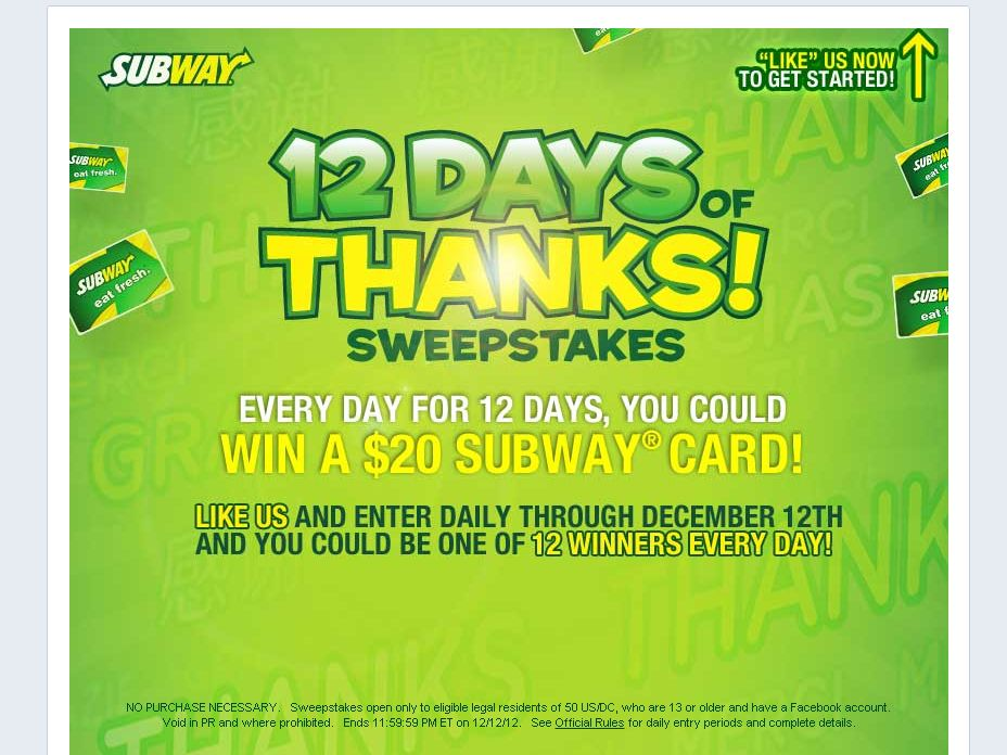 SUBWAY 12 Days of Thanks Sweepstakes