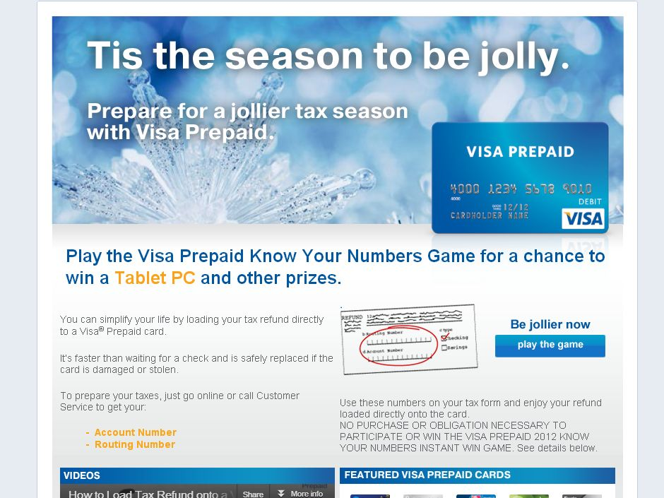 Visa Prepaid 2012 Know Your Numbers Instant Win Game & Sweepstakes