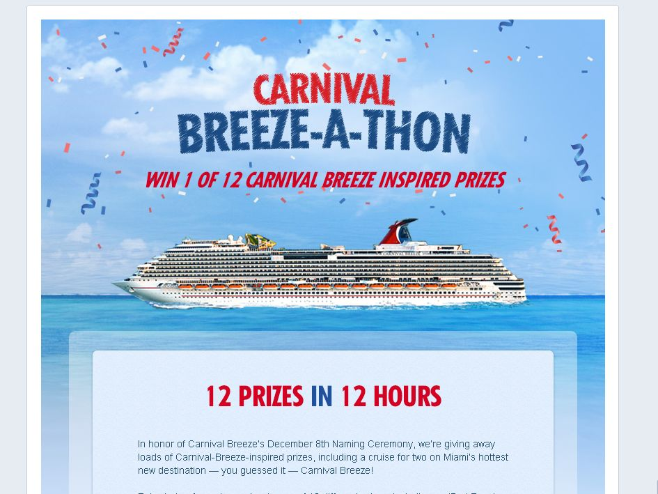 Carnival Breeze-a-thon Sweepstakes