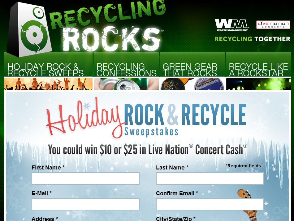 Waste Management Holiday Rock & Recycle Sweepstakes