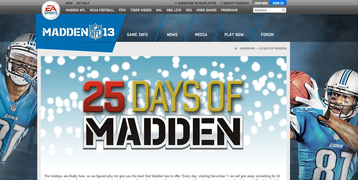 Madden NFL 13 Holiday Sweepstakes