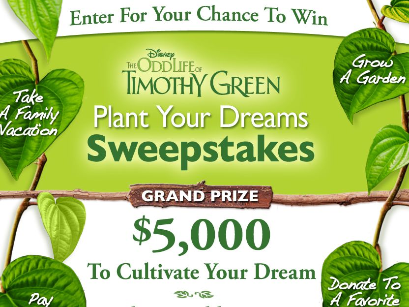 Disney's Odd Life of Timothy Green Plant Your Dreams Sweepstakes