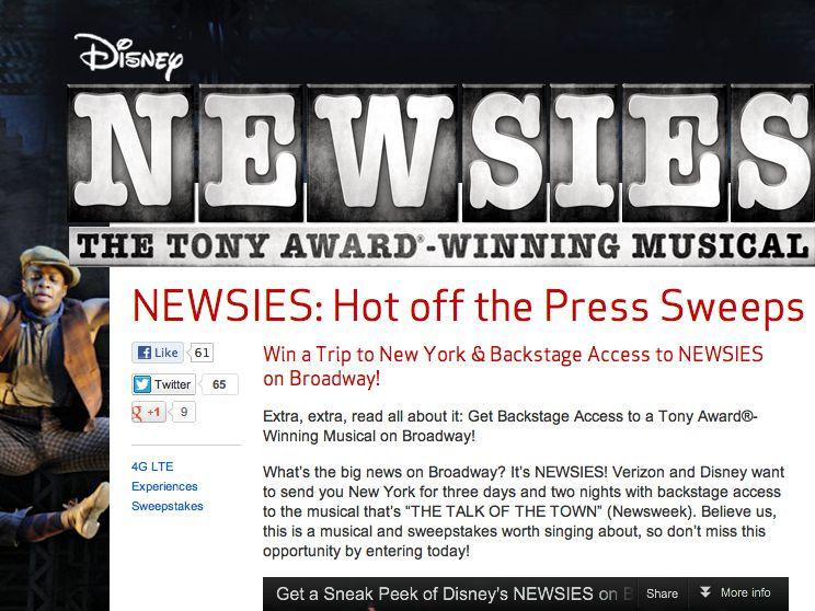 Disney Newsies: Hot Off The Press Sweeps