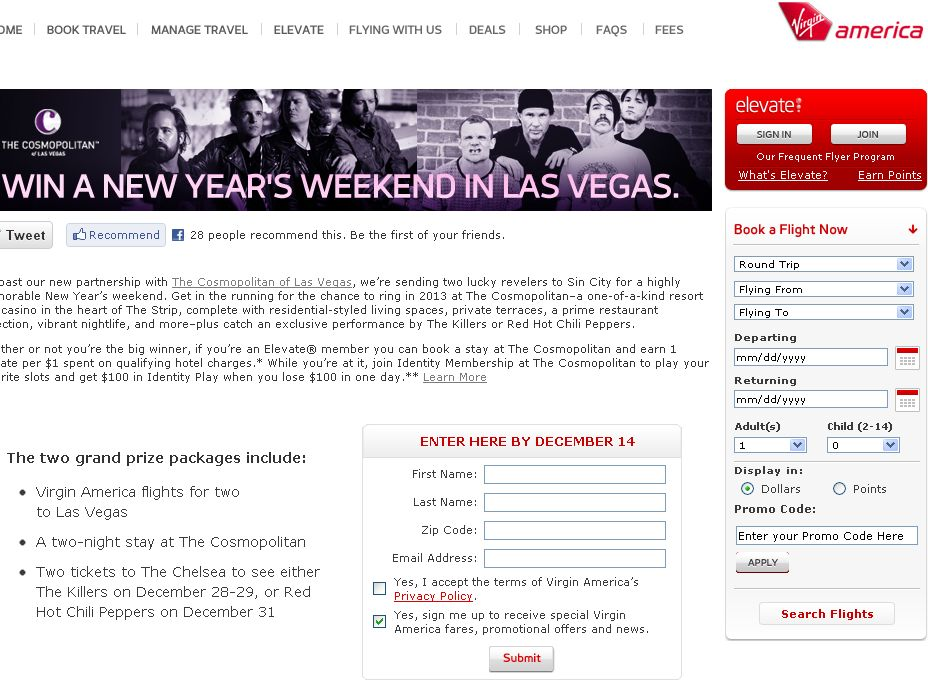 New Year's Weekend in Las Vegas Sweepstakes