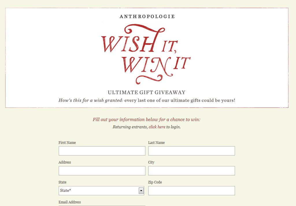 Anthropologie's Wish It, Win It Sweepstakes