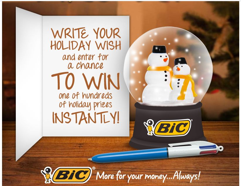 BIC's Write Your Holiday Wish Instant Win Contest
