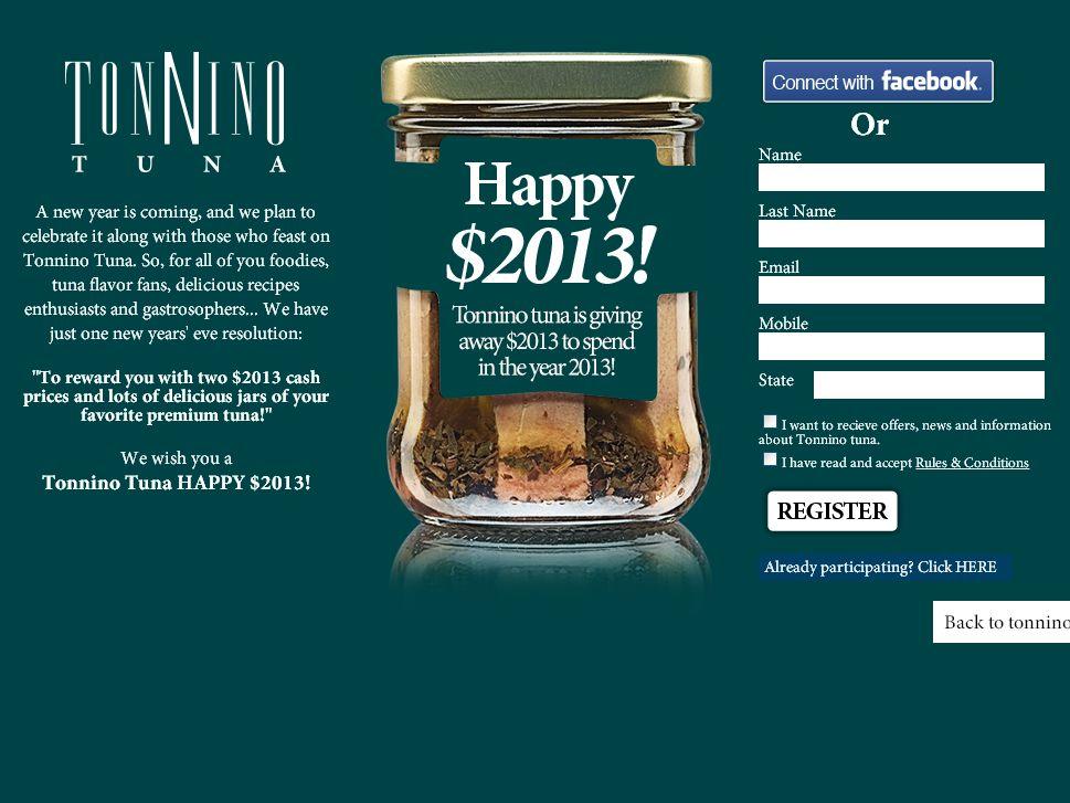 Tonnino Tuna Happy 2013 Sweepstakes