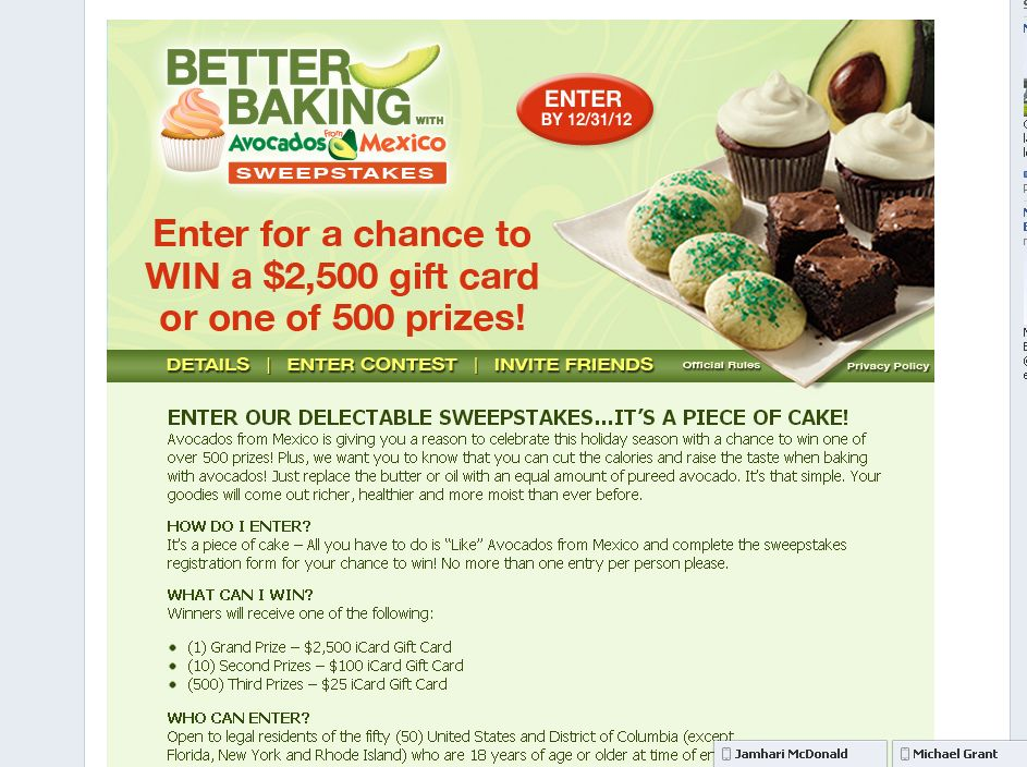 Better Baking with Avocados from Mexico Sweepstakes