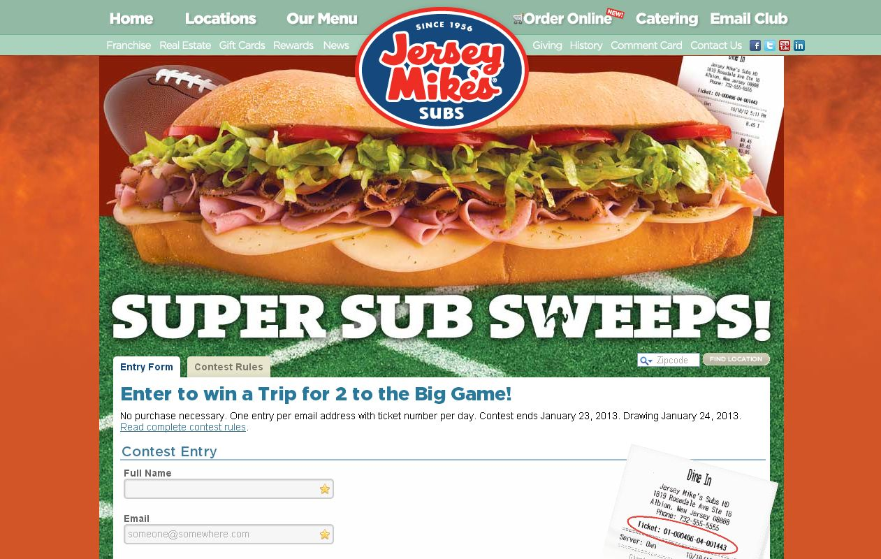 Jersey Mike's Super Sub Sweepstakes