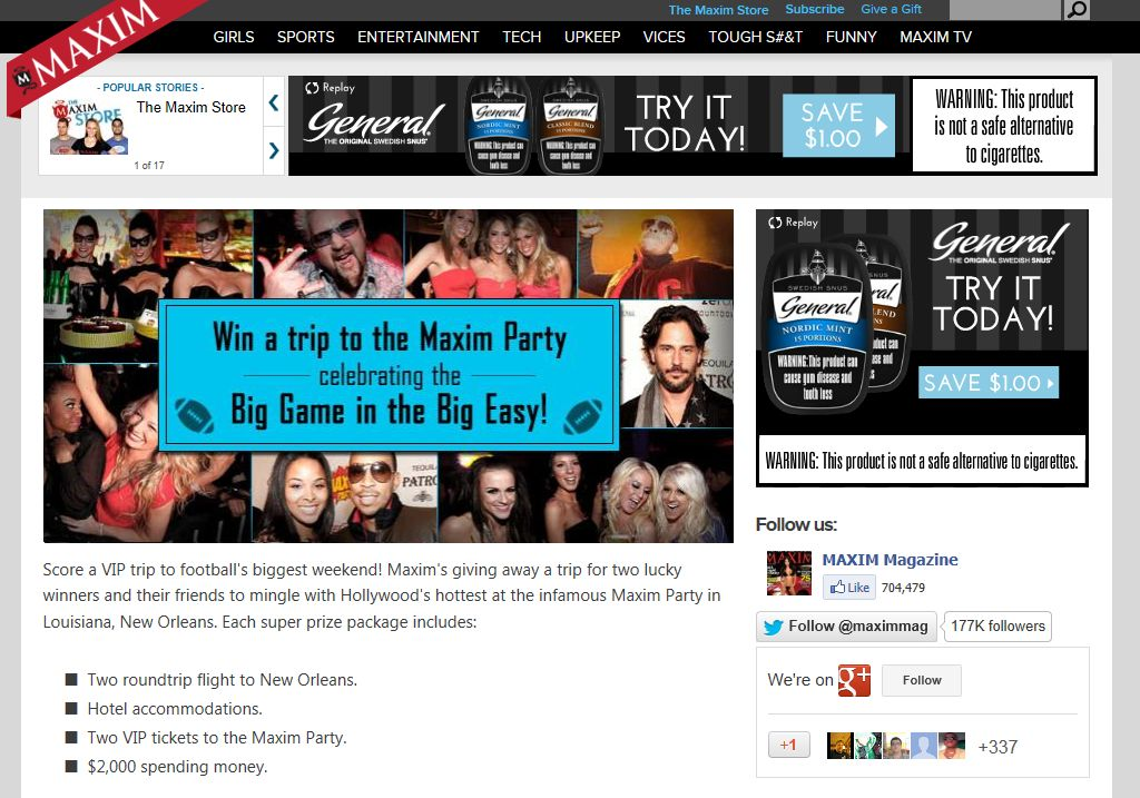 Maxim's 2013 Big Game Sweepstakes