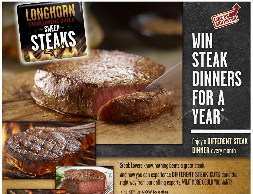 LongHorn Steak Lovers' Dozen SweepSTEAKS