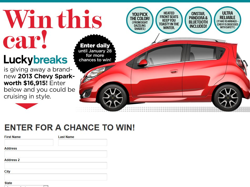 Chevrolet Spark Official Sweepstakes