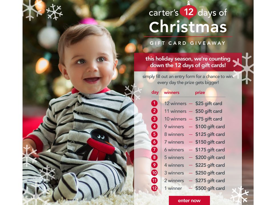 Carter's 12 Days of Christmas Gift Card Giveaway