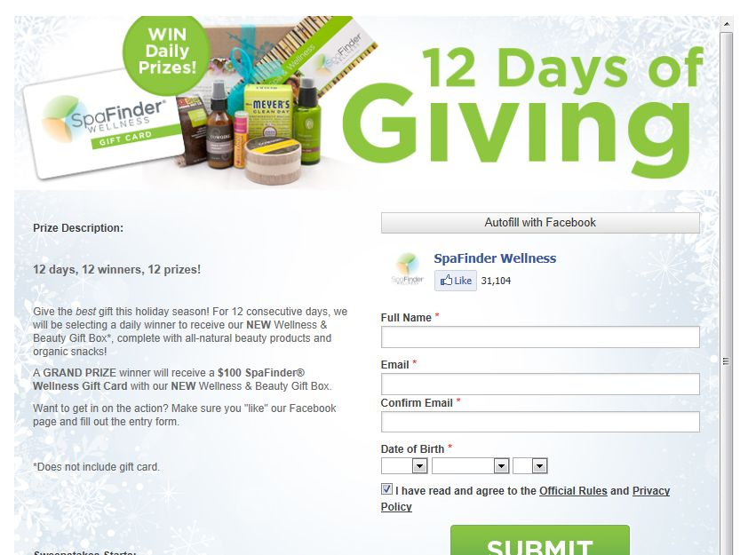SpaFinder Wellness 12 Days of Giving Sweepstakes