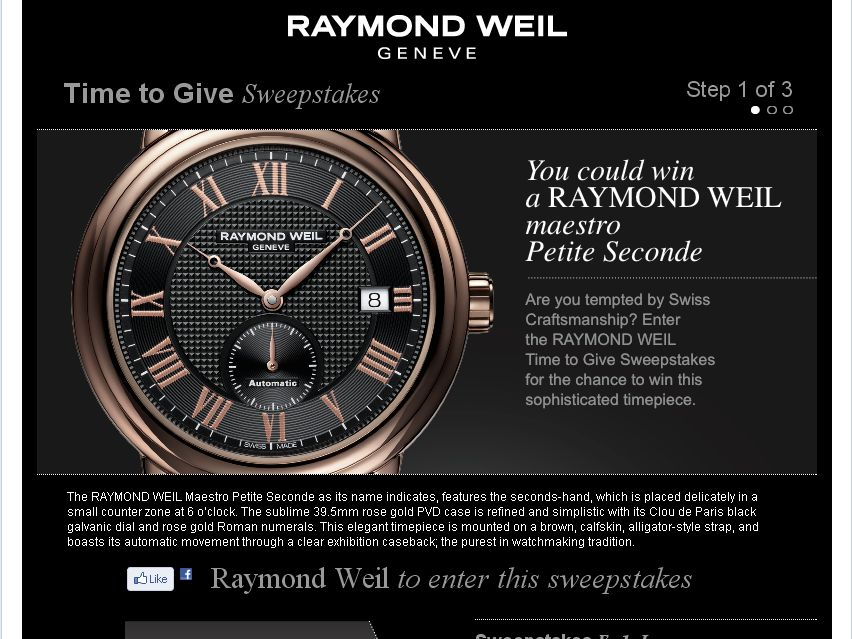 Raymond Weil Time to Give Sweepstakes