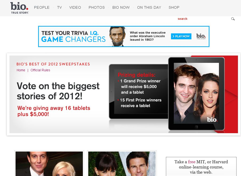 BIO'S BEST OF 2012 SWEEPSTAKES