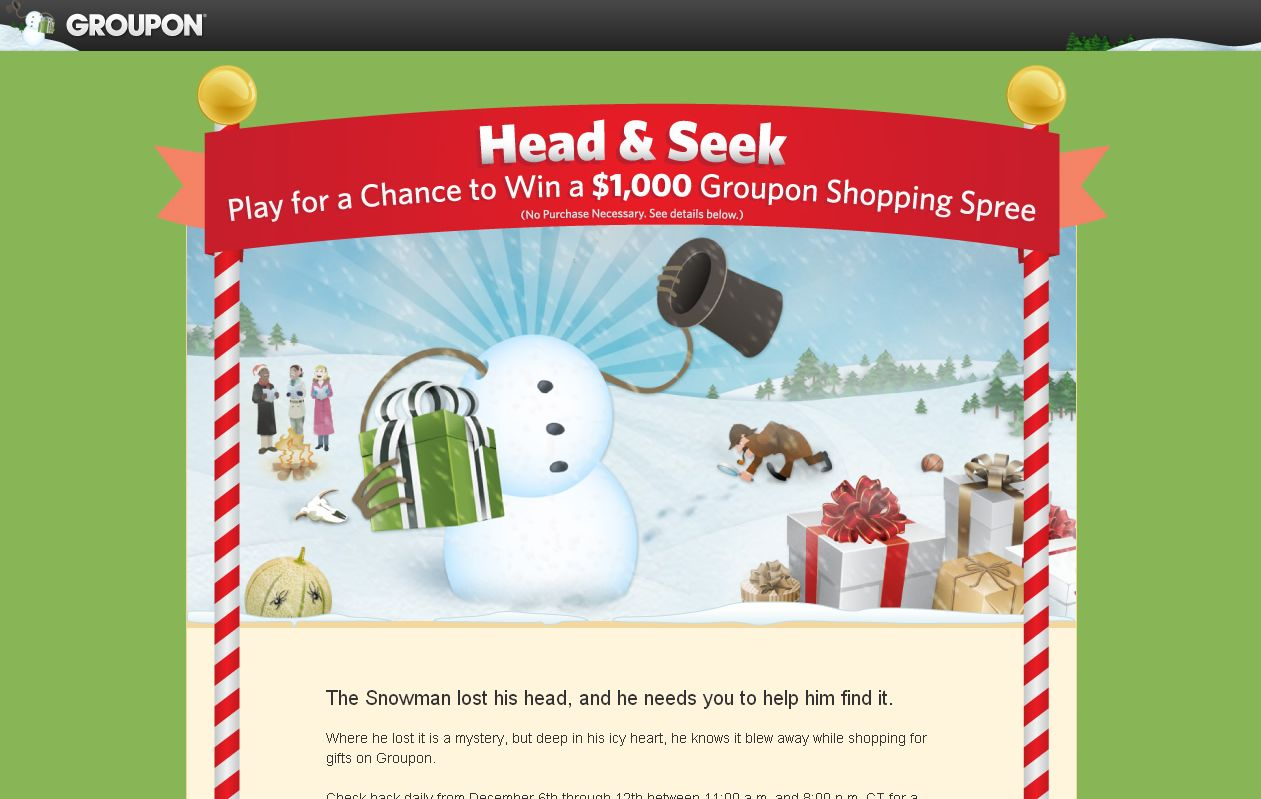 Groupon Head and Seek Sweepstakes