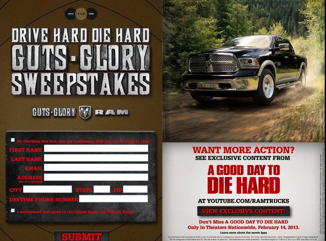 DRIVE HARD DIE HARD GUTS-GLORY SWEEPSTAKES