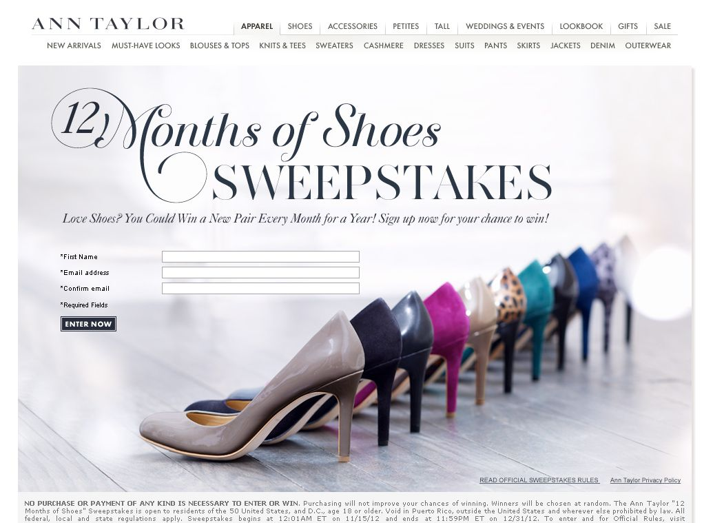 Ann Taylor 12 Months of Shoes Sweepstakes