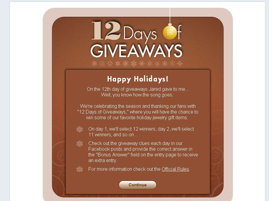 Jared 12 Days of Giveaways Sweepstakes