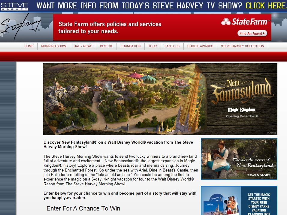 Steve Harvey Morning Show's New Fantasyland Flyaway Sweepstakes